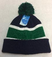 Double-Layer Knitted Hat with PomPom [Navy/Green]